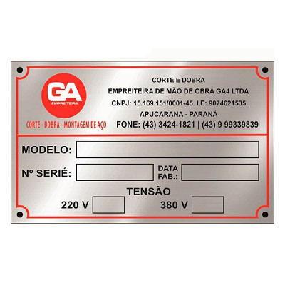 Placas em aluminio para identificação